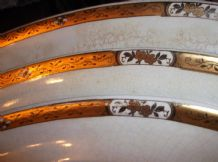 3 X GRADUATED OVAL PLATTERS BOOTHS SILICON 1936 34 1137 IMPRESSED GOLD ROSE RIMS